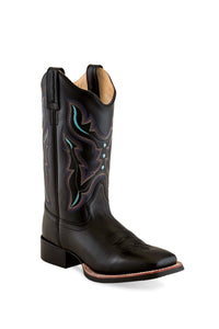 "'Old West' Women's 11"" Western Scallop Square Toe - Black"