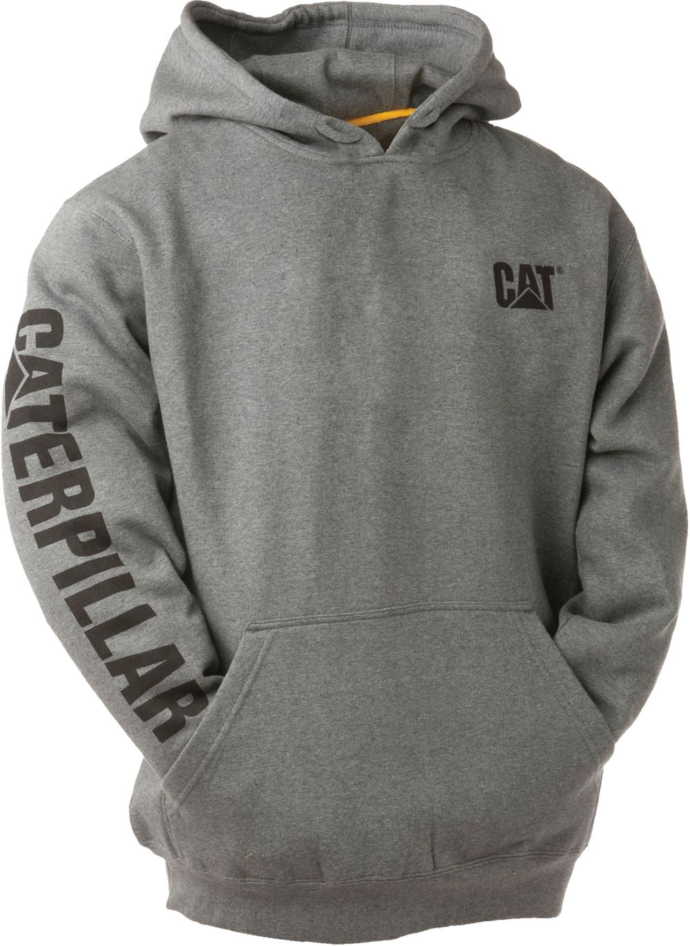 'Caterpillar' Men's Trademark Banner Hooded Sweatshirt - Dark Heather Grey