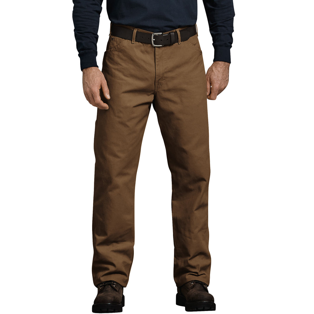 'Dickies' Relaxed Fit Straight Leg Carpenter Duck Jeans - Brown Duck