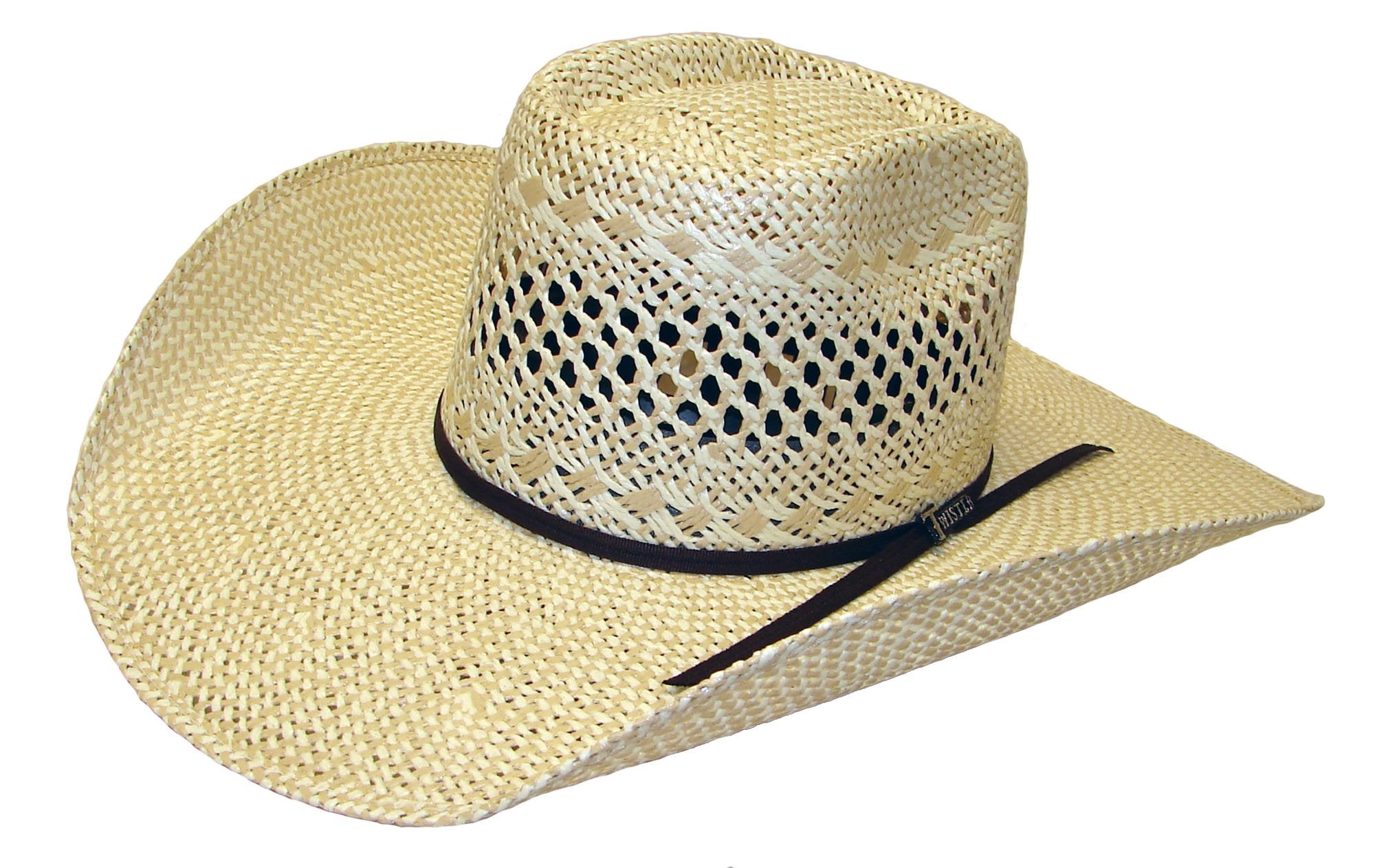 'Twister' T71615 - Twisted Weave Western Hat - Ivory / Tan