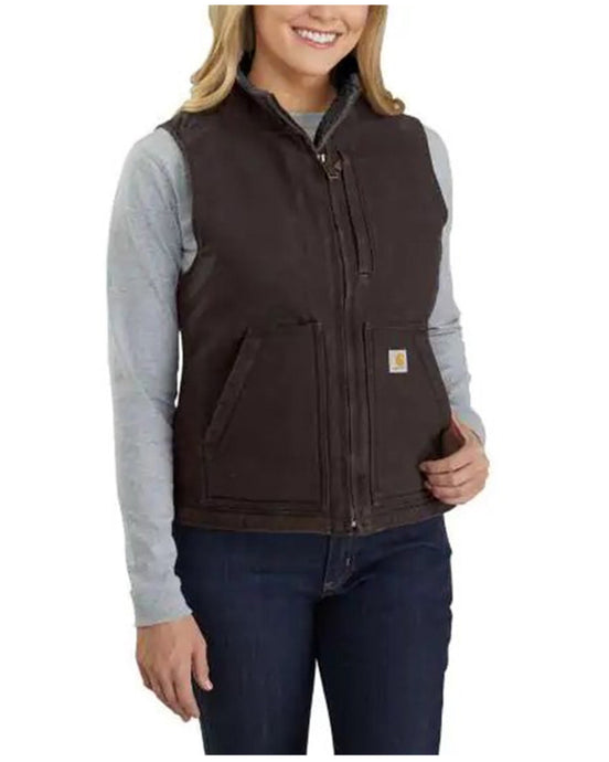 'Carhartt' Women's Washed Sherpa Lined Vest - Dark Brown