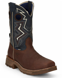 "'Tony Lama' Men's 11"" Force Western EH WP Comp Toe - Brown / Blue"