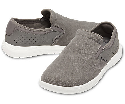 'Crocs' 206062 071 - Men's Reviva Canvas Slip On - Grey / White