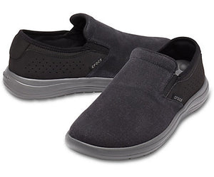'Crocs' 206062 0DD - Men's Reviva Canvas Slip On - Black / Grey