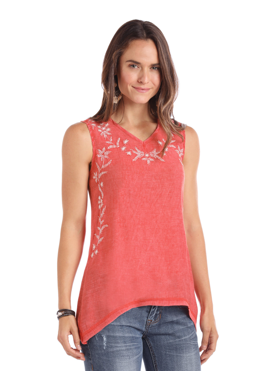 'Panhandle Slim' Embroidered Tank Top - Red