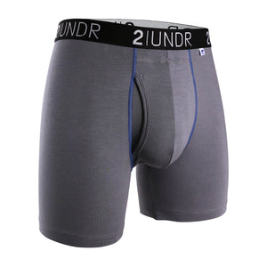 "'2UNDR' Men's Swing Shift 6"" Boxer Brief - Grey / Blue"