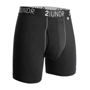 "'2UNDR' Men's Swing Shift 6"" Boxer Brief - Black / Grey"