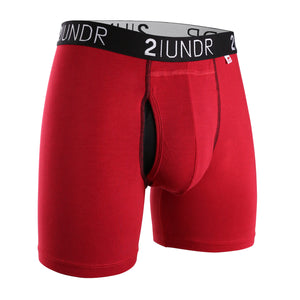 "'2UNDR' Men's Swing Shift 6"" Boxer Brief - Red"
