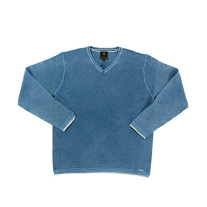 'F/X' Fusion' Men's Tuck Stitch V Neck Sweater - Indigo