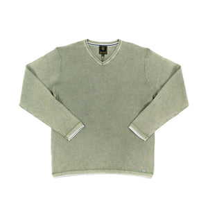 'F/X' Fusion' Men's Tuck Stitch V Neck Sweater - Sage