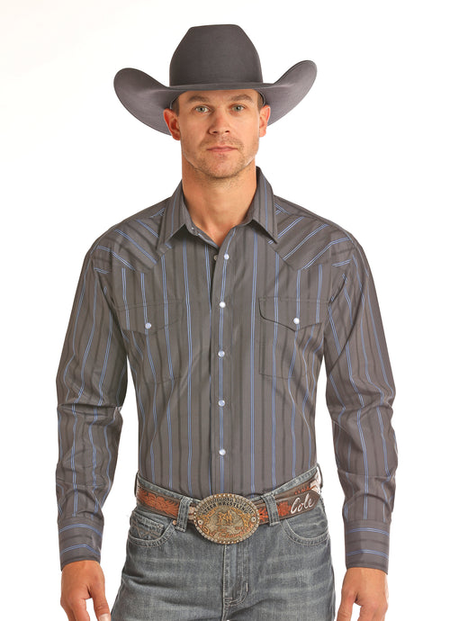 'Rock & Roll' Satin Stripe Western Snap - Grey / Navy