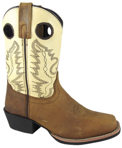 "'Smoky Mountain' Children's 7"" Western Square Toe - Brown / Cream"