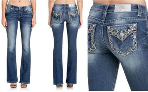 Floral Essence Low Rise Boot Cut Jeans - Medium Wash Denim