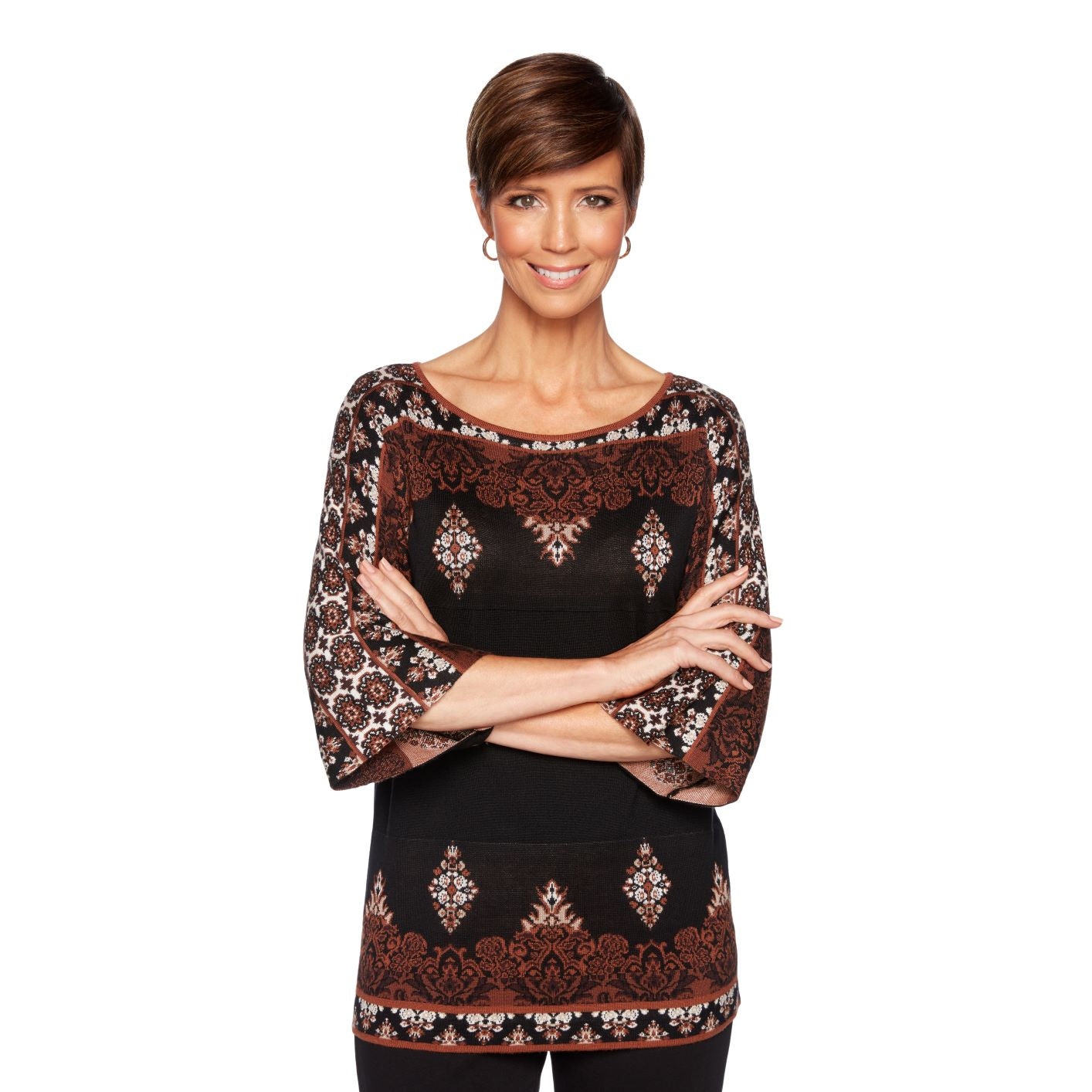 'Ruby Road' 37161 D7 969 - Women'a Jacquard Pullover Sweater - Black / Multi