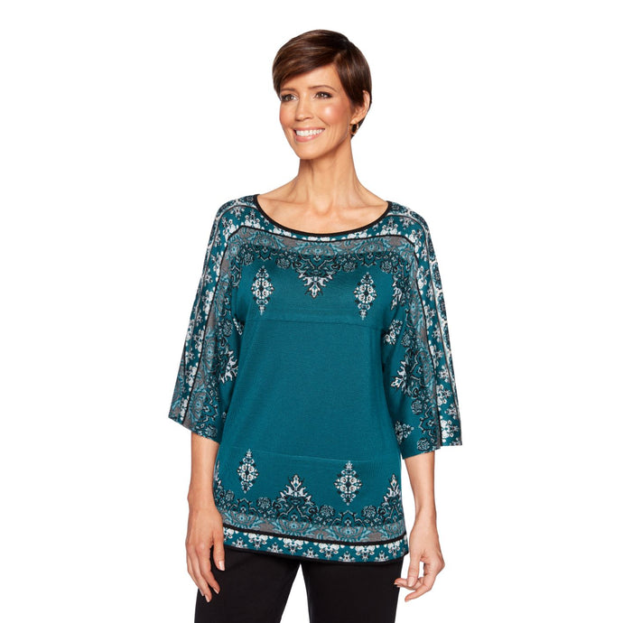 'Ruby Road' 37161 D7 392 - Women's Jacquard Pullover Sweater - Teal / Multi