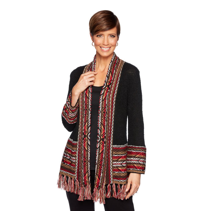 'Ruby Road' Women's Cardigan w/Fringe - Black / Multi