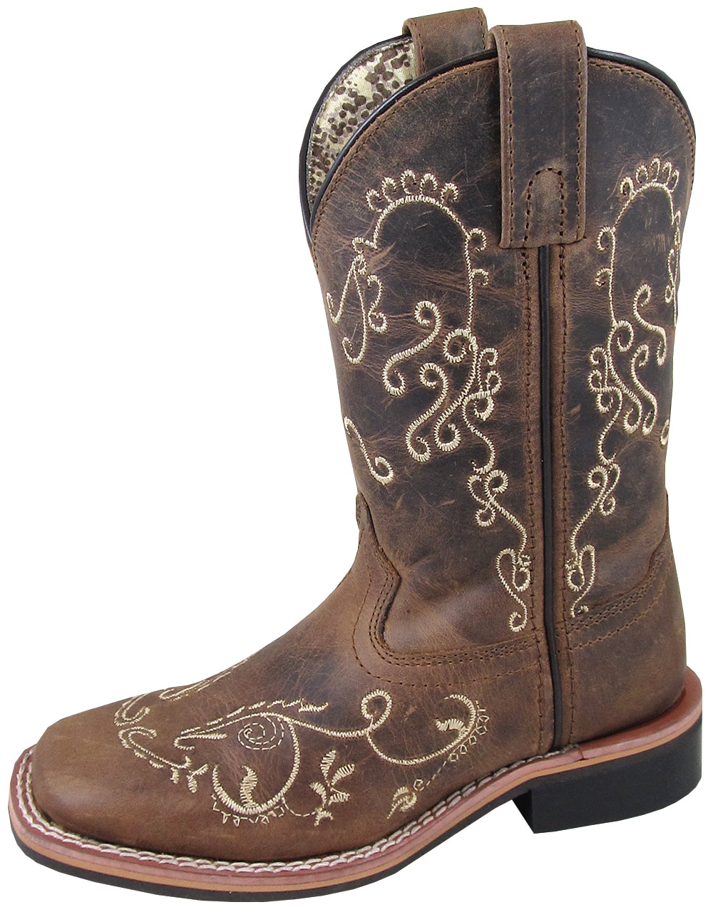 'Smoky Mountain' Children's Marilyn Western Square Toe - Brown Waxed