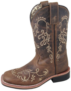 'Smoky Mountain Boots' Youth Marilyn Western - Brown Waxed