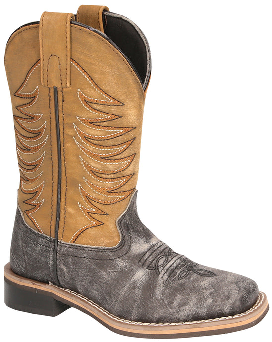 'Smoky Mountain Boots' Children's Boys' Prescott Western - Black Distress / Antique Tan
