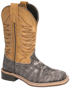 'Smoky Mountain' Youth Prescott Western Square Toe - Black Distress / Antique Tan