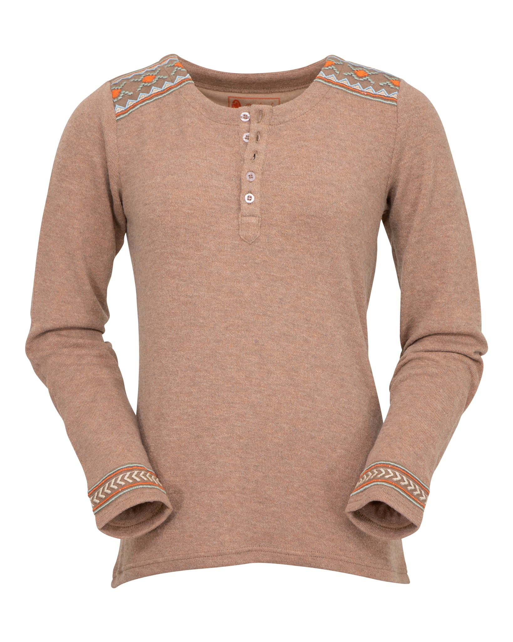 'Outback Trading' Julie Aztec Trim Tee - Taupe