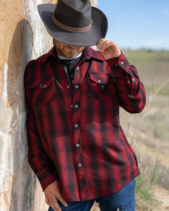 'Outback Trading' Mount Elk Plaid Shirt - Red