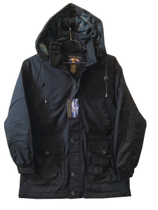 'Falcon Bay' Men's Classic Big & Tall Parka - Black