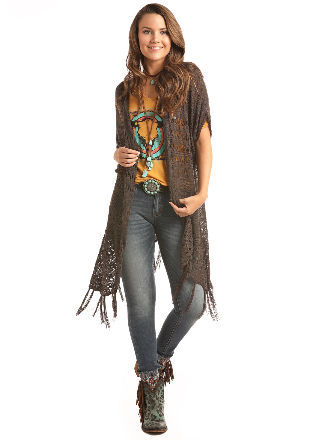 'Rock & Roll Cowgirl' Jr. Crochet Cardigan w/Fringed Hem - Brown