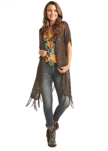 'Rock & Roll Cowgirl' 46-2914 02 - Jr. Crochet Cardigan w/Fringed Hem - Brown