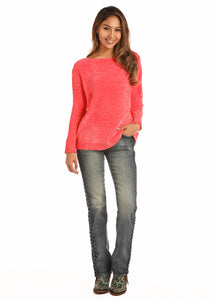 'Rock & Roll' 46-2916 67 - Jr. Chenille Boat Neck Sweater - Pink