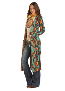 'Rock & Roll Cowgirl' 46-3164 99 - Jr. L/S Long Aztec Cardigan - Multi