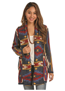 'Rock & Roll Cowgirl' 46-3768 - Jr. L/S Aztec Cardigan - Aztec Multi