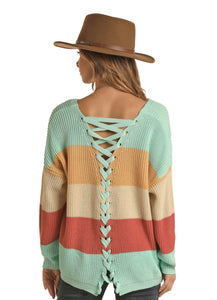 'Rock & Roll Cowgirl' Junior's Color Block Lace Up Sweater - Multi