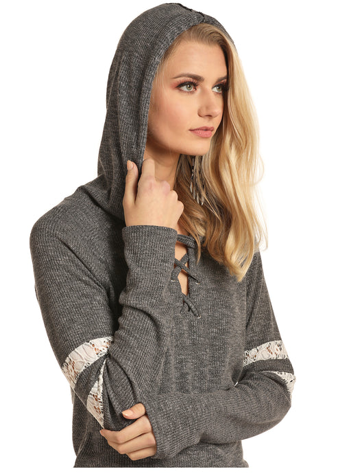 'Rock & Roll Cowgirl' Jr. Lace Up Hoodie - Grey