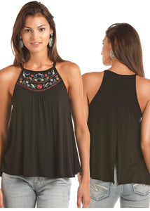 'Rock & Roll Cowgirl' 49-6712 - Floral Embroidered Tank Top - Black