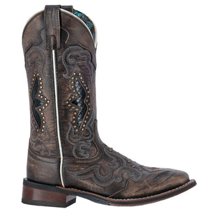 "'Laredo' Women's 11"" Spellbound Western Square Toe - Blacktan"
