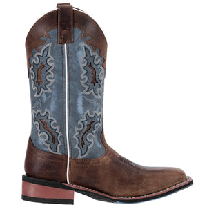 "'Laredo' Women's 11"" Isla Western Square Toe - Tan /  Blue Denim"