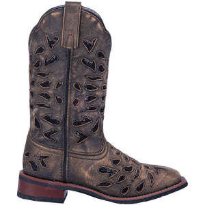 "'Laredo' Women's 11"" Black Ice Western Square Toe - Brown"