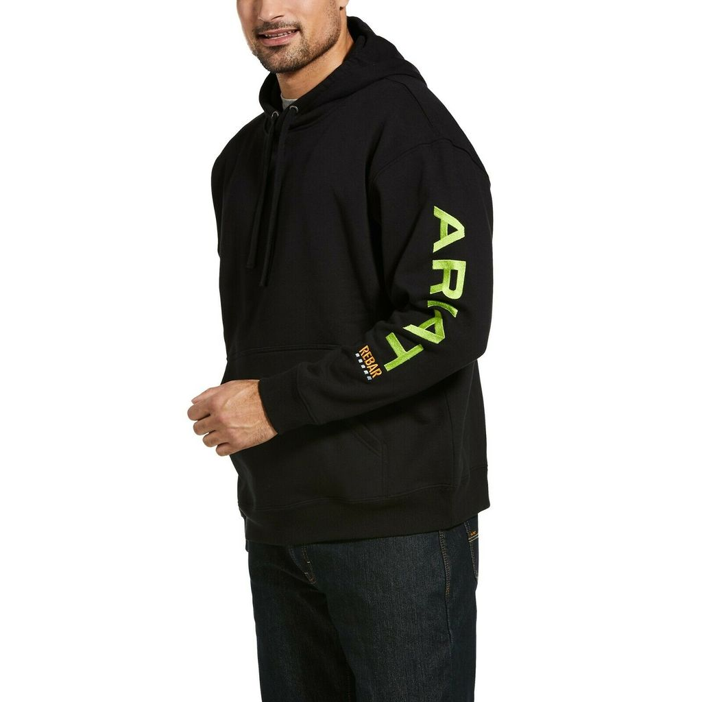 'Ariat' Men's Rebar Graphic Hoodie - Black / Lime