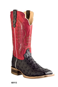 "'Old West' Men's 12"" Western Outlaw Ostrich Print Square Toe - Chocolate / Red"