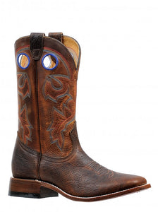 'Boulet' Men's Shrunken Old Town Wide Square Cowboy - Bison Brown
