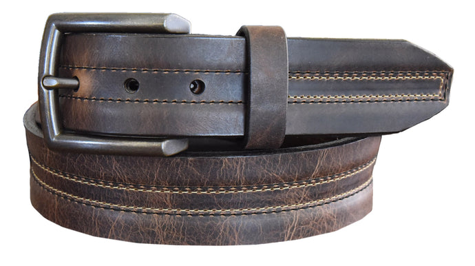 'Lejon' Men's Vintage Bison Leather Belt - Brown