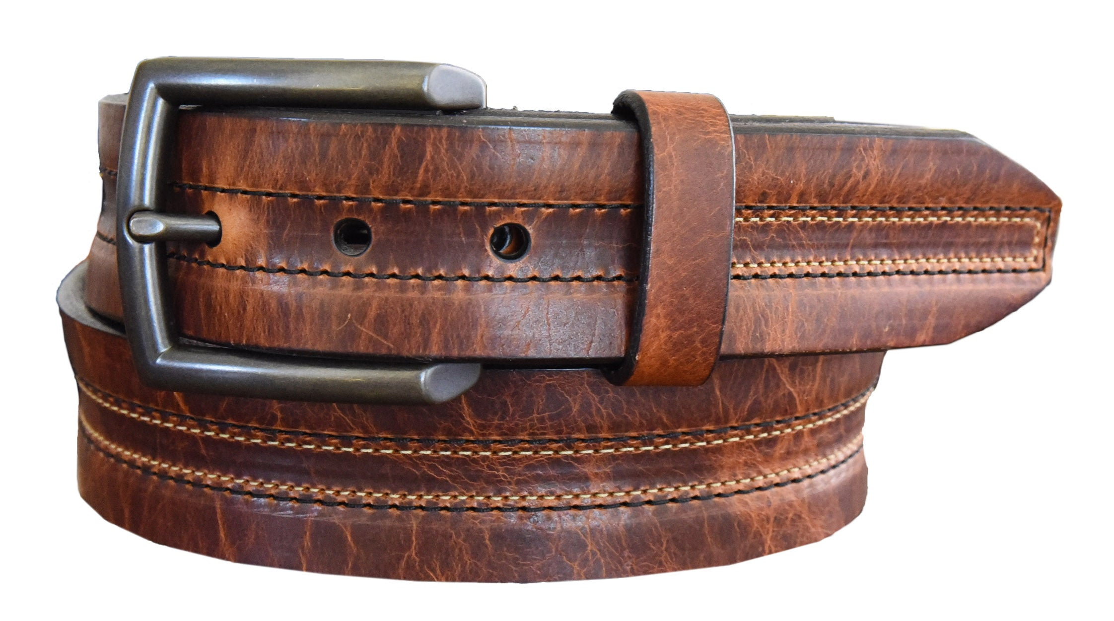 'Lejon' Men's Vintage Bison Leather Belt- Whiskey