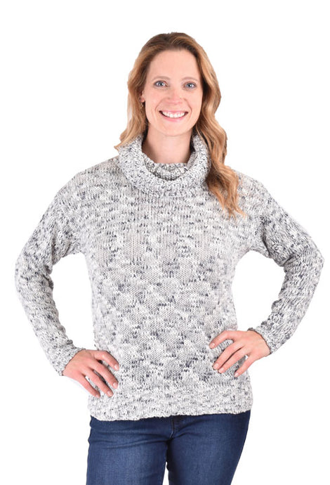 'Ethyl' 6G105BLU - Women's LS Cowl Neck Sweater - Blue / Cream