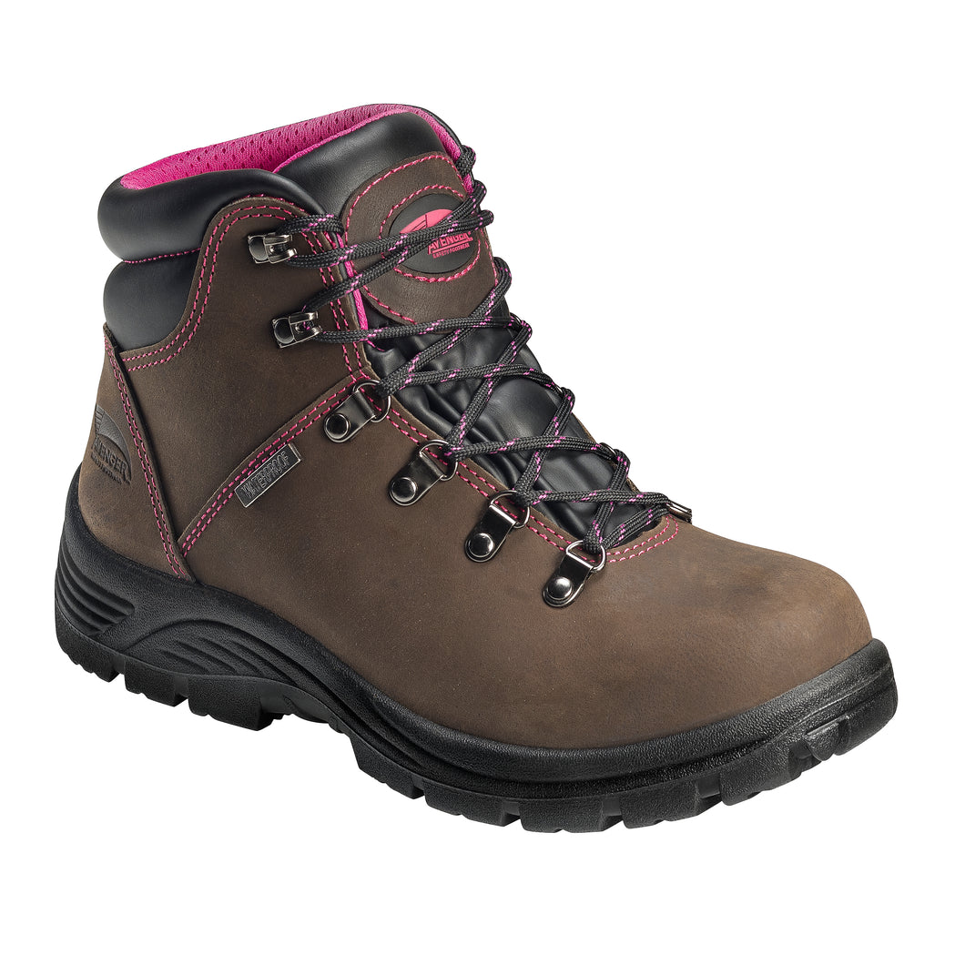 'Avenger' Women's EH WP Steel Toe - Brown / Bright Pink