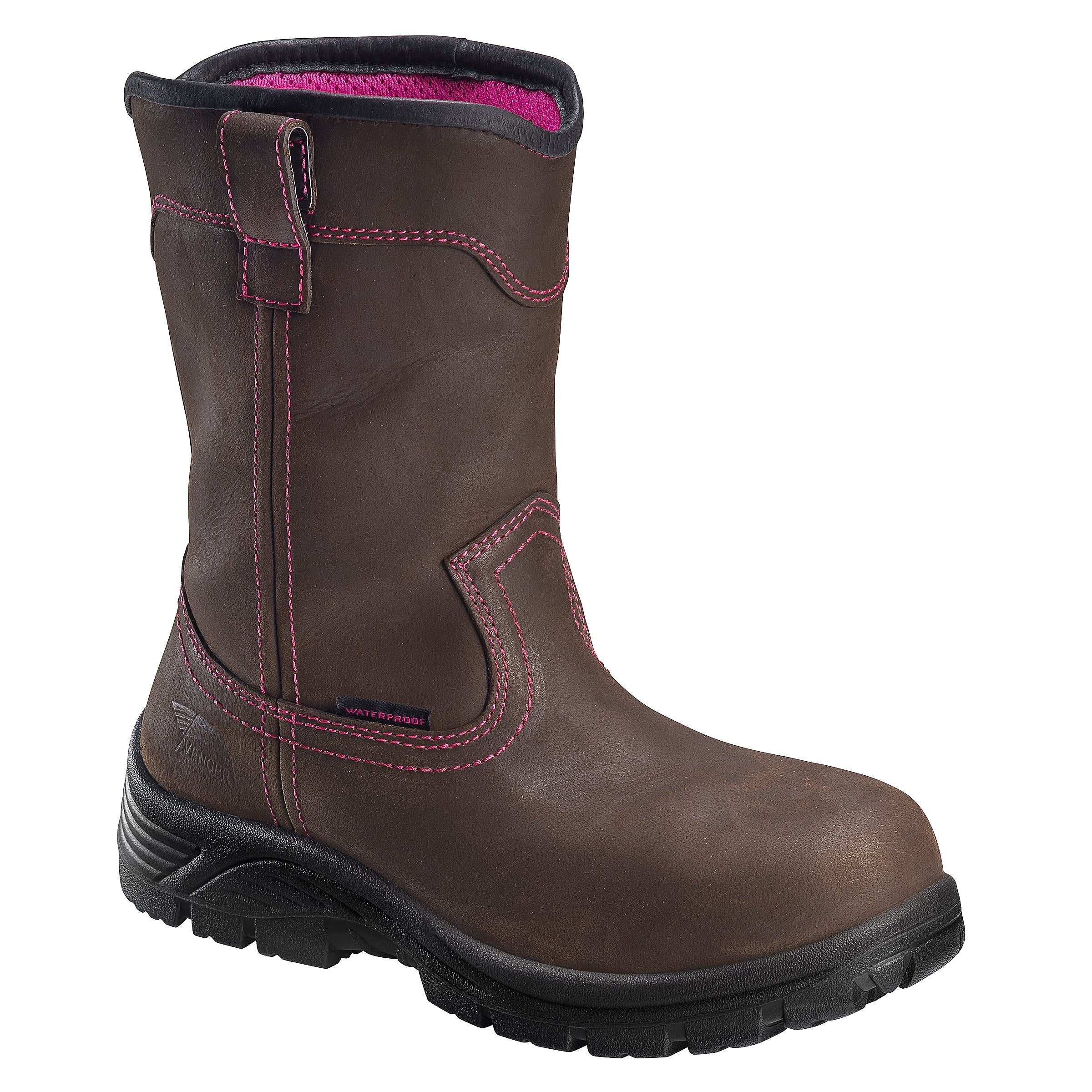 'Avenger' Women's Wellington WP Comp Toe EH - Brown / Pink