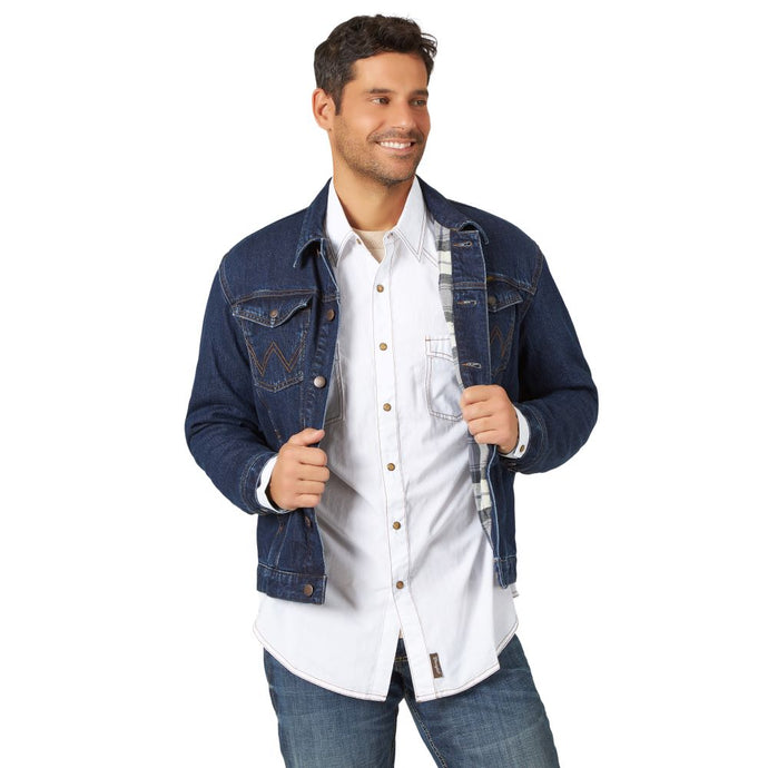 'Wrangler' Men's Blanket Lined Denim Jacket - Faded Indigo