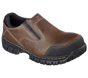 'Skechers' 77066 - Hartan Steel Toe Slip On Shoe - Dark Brown