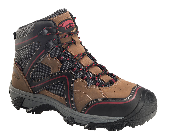 Crosscut Waterproof Steel Toe Hiker - Brown / Black / Red