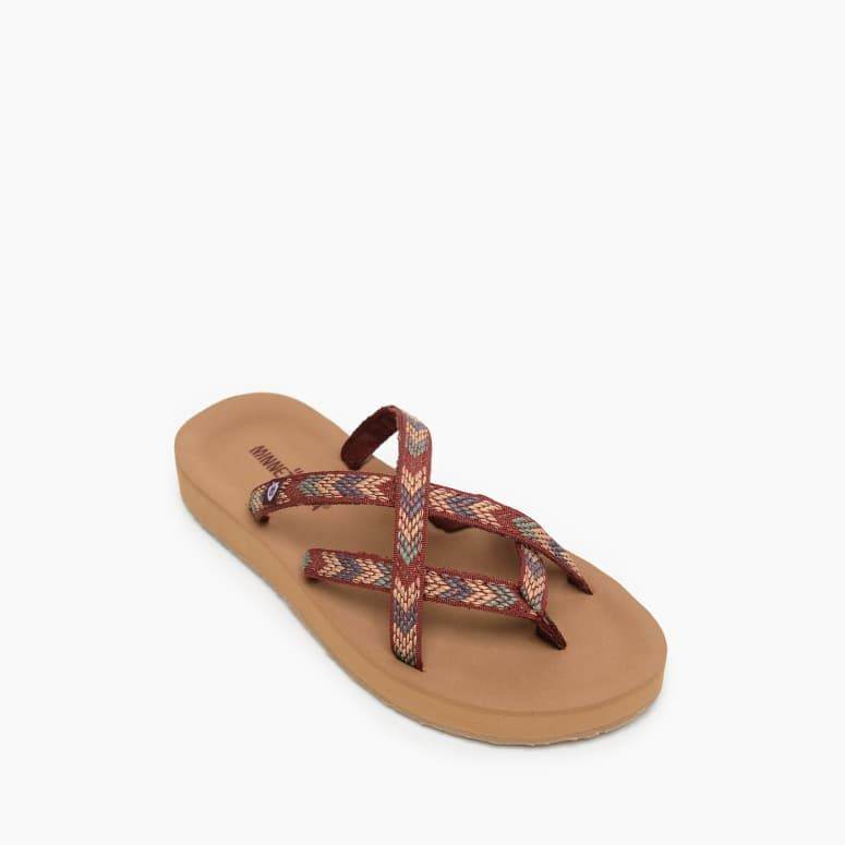 'Minnetonka' Women's Hanna Sandal - Brown / Tan Multi